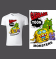 child t-shirt design with cartoon monsters vector image