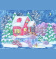 christmas and new year greeting card with house vector image