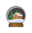 christmas snow globe with home and trees vector image