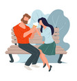 couple on date eating ice cream sitting on bench vector image