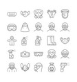 covid19 19 protection equipments line icon set vector image