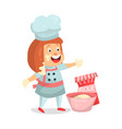 cute cartoon little girl chef character baking vector image
