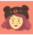 Cute Curly Girl with Black Bear Hat vector image vector image