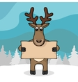 Cute hand drawn deer with empty banner