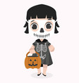 cute kid halloween character wearing skeletom vector image vector image