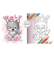 cute wolf - coloring book for kid and children vector image