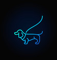 dog on a leash blue icon vector image vector image