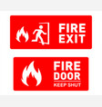 emergency fire exit and fire door safety signs vector image