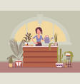florist lady sells grows flowers and home vector image vector image