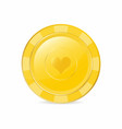 golden gambling chip with heart suit realistic vector image vector image