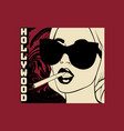 hollywood hand drawn girl with vector image