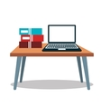 laptop computer table books icon vector image
