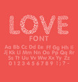 love alphabet with a heart letters and numbers vector image vector image