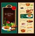 Menu template of spanish cuisine restaurant vector image