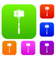 mobile phone on a selfie stick set collection vector image vector image