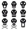 pixel skulls icon set vector image vector image