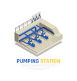 pumping station concept vector image vector image