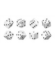 realistic 3d dice white casino and betting vector image