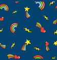 seamless pattern with doodle comets lightnings vector image vector image