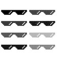 set of different pixel glasses vector image