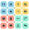 set of simple buddies icons vector image vector image