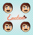 set with emotional male faces vector image
