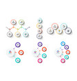 set with white circles and thin lines clean vector image
