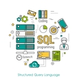 SQL line art concept vector image vector image