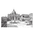 st peters and the vatican palace the largest vector image vector image