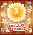 summer background with big sun and text on wood vector image