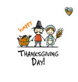 thanksgiving day fermers with harvest sketch vector image vector image