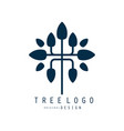 tree logo original design blue eco bio badge vector image