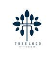 tree logo original design blue eco bio badge vector image vector image