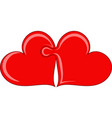 two hearts as puzzle vector image vector image