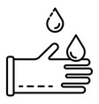 water drops on gloves icon outline style vector image vector image