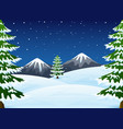 winter night landscape with mountains and fir tree vector image