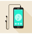 with a mobile phone device in flat style with a vector image