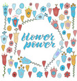 yellow blue red doodle flowers vector image vector image