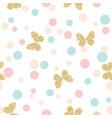gold glittering butterflies seamless pattern on vector image