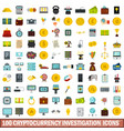 100 cryptocurrency investigation icons set vector image