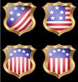 American flag on metal shiny shield vector image