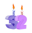 32 years birthday number with festive candle for vector image vector image