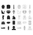 ancient egypt blackoutline icons in set