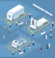 autonomous trucks exhibition composition vector image vector image
