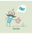 banker plant watering and thinks about the dollar vector image vector image