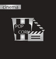 black and white style icon popcorn cinema vector image vector image