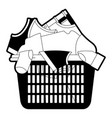 black sections silhouette of laundry basket with vector image vector image