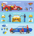 car wash car-washing service with people vector image