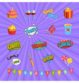 Carnival Comic Elements Set vector image vector image