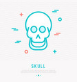 cartoon smiling skull thin line icon vector image